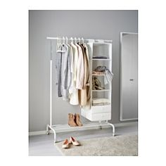 IKEA - RIGGA, Clothes rack, white,  , , You can easily adjust the height to suit…