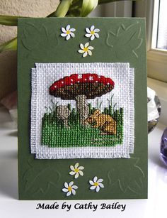 A mousy cross stitch birthday card