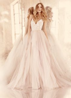 Hayley Paige HP6560 Nicoletta Alabaster tulle bridal ball gown with floral beaded ballet bodice, V-neckline and spaghetti straps with crisscross at back, full tiered tulle skirt.