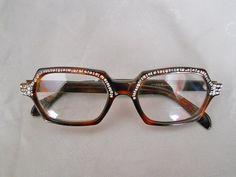 Vintage Rhinestone Eyeglasses 1960s Tortoise by LunaJunction