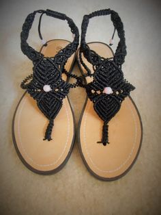 Black macrame sandals with seed beads