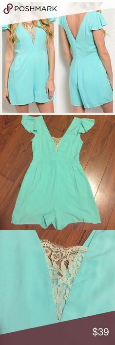 """🎀JUST IN🎀 Beautiful Mint Romper With Lace Detail This romper is adorable! Made in USA. 100% Rayon. Small:  L: 33"""" B: 34"""" W: 28"""". NWOT from the manufacturer. Please let ke know if you have any questions! Dresses"""