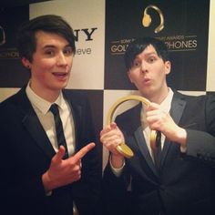 CONGRATZ! WELL DESERVED! DAN AND PHIL WON THE SONY GOLDEN HEADPHONES! I LOVE YOU GUISE! I'M ASDFGHJKL; AND FAN GIRLING RIGHT NOW!