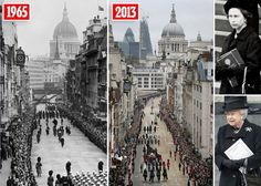 London: Sir Winston Churchill's funeral (left) and Baroness Margaret Thatcher's (former Prime Minister) funeral (right). These are the only two funerals Queen Elizabeth ll has attended - 48years, 2 months and 16 days apart.