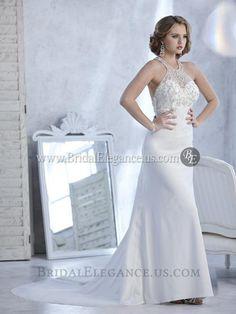 National Bridal Sale - Chiffon Beaded Racerback Wedding Gown   Wedding Dresses   Bridal Elegance