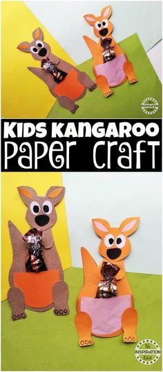 Kids Kangaroo Paper Craft Idea - This is a simple, easy and fun paper craft for kids. #papercrafts #kangaroo #australian #kidscrafts #animals #animalcrafts #preschool #paperart