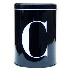 Luxus Vorratsdose in schwarz aus Metall von Nicolas Vahé mit Buchstabe C für jawohl Coffee, damit Ihr Kaffee immer frisch bleibt! Er hat auch ein Brüderchen