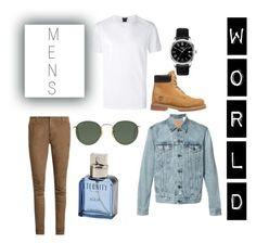 """Mens World"" by cheyenne-lena ❤ liked on Polyvore featuring Balmain, BOSS Hugo Boss, Levi's, Timberland, Ray-Ban, Tissot, Calvin Klein, men's fashion and menswear"