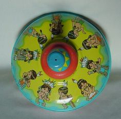 Vintage Tin Spinning Top 10 Little Indians Painted Great Graphics Ohio Art USA  #OhioArt