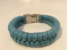 Light blue fishtail Paracord bracelet with metal 3/8 buckle - just beautiful!