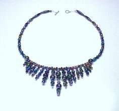 Handmade Beaded Necklace in Peacock Colors with by terririchard, $20.00