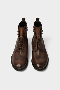 Image 1 of NATURAL COLORED LEATHER BOOTS from Zara Moccasins, Leather  Boots, Shoes Sneakers 7d190ce324