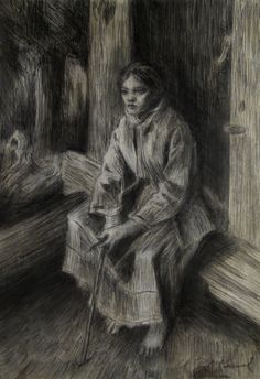 Atersken (Reflection) - an experimental soft etching in graphite and charcoal on watercolor ground....study of an Anders Zorn etching.