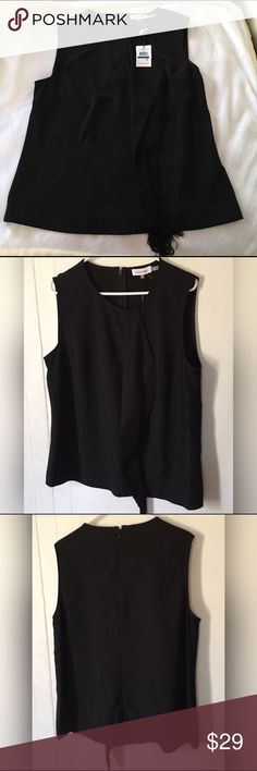 Calvin Klein Womens Fringe Sleeveless Black XL Brand new with tags, SUNGLASSES NOT INCLUDED Calvin Klein Tops Blouses