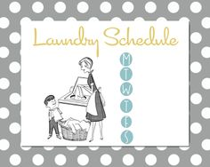 Family Laundry Schedule Printable from {my3monsters.com #organizing #printables #chores