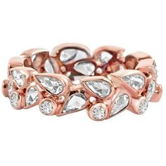 Preowned Vivaan Dew Drop Rose Cut Diamond Gold Band Ring ($4,999) ❤ liked on Polyvore featuring jewelry, rings, red, pre owned rings, rose cut ring, pre owned diamond rings, diamond rings and rose cut diamond jewelry