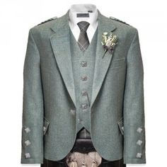 Braemar Kilt Jacket and Vest (Lovat Tweed with Chrome buttons)
