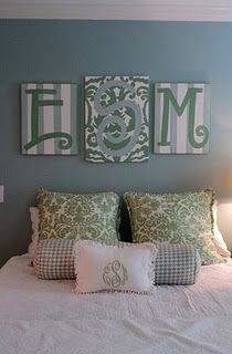 Diy Monogram Canvas Paintings No Link But I Like The Idea Of Having The Paintings Above The Bed Rather Than A Headboard By Queen