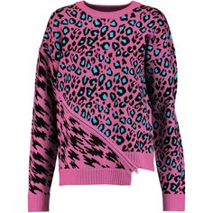 Opening Ceremony Leopard-intarsia stretch-knit sweater (2 335 ZAR) ❤ liked on Polyvore featuring tops, sweaters, pink, zipper sweater, purple top, galaxy print sweater, pink leopard sweater and leopard sweater