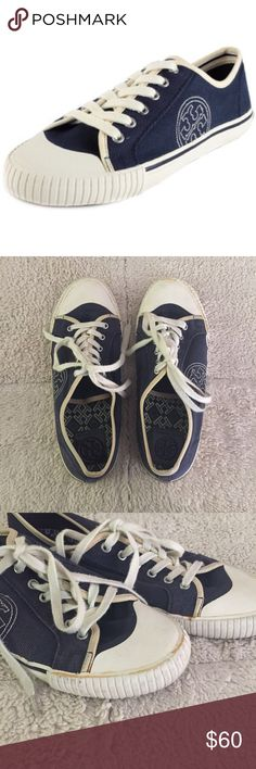 """Tory Butch """"Daniel"""" sneaker Flaws pictured. Bottom of shoes are in great condition. Shoes are in great condition besides the flaws pictured.  These shoes are super stylish while looking casual! Wear with your party dress after long nights in heels. Ask any questions you may have and make offers! Tory Burch Shoes Sneakers"""