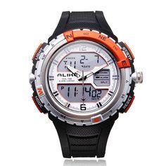 Sale 10% (12.99$) - Alike AK1388 Sport Military Black Dual Time Rubber Men Quartz Watch
