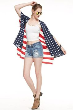 Merica Jacket by 12PM by Mon Ami  Kimono style duster open front jacket. Patriotic red & white stripe back with blue & white stars in drapey front. Hi lo hemline.
