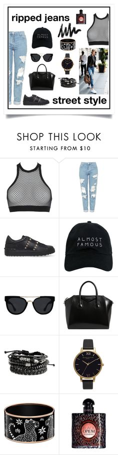 """""""Street Smart"""" by elise-co ❤ liked on Polyvore featuring Dsquared2, Topshop, Valentino, Nasaseasons, Quay, Givenchy, Olivia Burton, Yves Saint Laurent, StreetStyle and Street"""