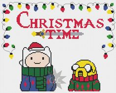 Adventure Time Christmas cross stitch sampler by CapesAndCrafts