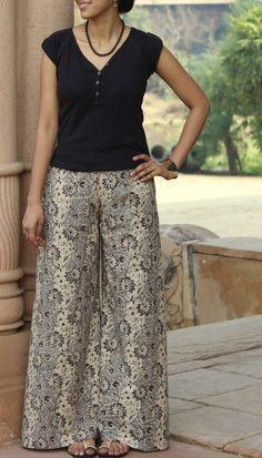 Handprinted flared palazzo pants in delightful Kalamkari prints Batik Fashion, India Fashion, Tops For Palazzo Pants, Stylish Dresses, Fashion Dresses, Kalamkari Designs, Plazzo Pants, Bodycon Outfits, Batik Dress