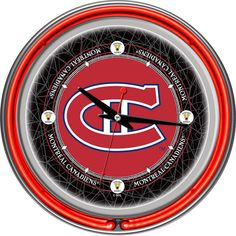 Montreal Canadiens Chrome Double-Ring Neon Wall Clock, Multicolor