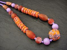 Statement Necklace Semi-Precious Stones Tribal Bead Necklace African Krobo Beads Agate Necklace Chunky Necklace Ethnic Stone Beads Jewelry