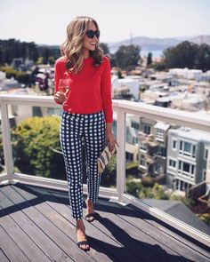 $88 Boden Blue And White Gingham Print Crop Pants Teamed With $88 Boden Sweater Tumblr