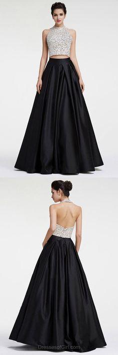 High Neck Prom Dress, Black Prom Dresses, Halter Evening Dresses, Satin Party Dresses, Two Piece Formal Dresses