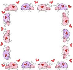 Ladybugs: Free Printable Borders, Frames or Labels. Borders For Paper, Borders And Frames, Printable Border, Clip Art, Class Decoration, Frame Clipart, Printing Labels, Writing Paper, Note Paper