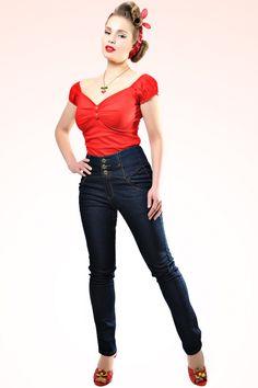 Collectif Clothing - 50s Rebel Kate High Waist Denim pants
