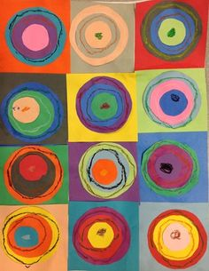 Kandinsky Circles - had my kids do this last year at the beginning...makes great art for class. Will probably do again this year!