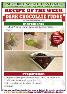 Ideal Protein - Dark Chocolate Fudge  An improved old recipe for Chocolate Fudge! Enjoy this for breakfast, lunch or snack during the Ideal Protein weight loss method - Phase 1 approved.