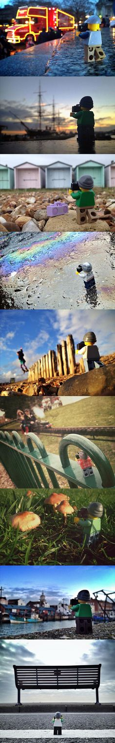 Funny pictures about Tiny LEGO photographer travels the world. Oh, and cool pics about Tiny LEGO photographer travels the world. Also, Tiny LEGO photographer travels the world. Lego Pictures, World Pictures, Lego Photography, Creative Photography, Legos, Fun Photo, Lego Man, Cool Lego Creations, Lego Worlds