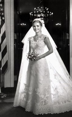 Tricia Nxion is shown in her wedding gown in the White House, which released the photo June 12,1971.