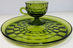 8 Indiana / Colony Glass Whitehall Avocado Green Snack Plate & Cup Sets (16 Avl) #ColonyGlassaDivisionofIndianaGlass Antique Dishes, Antique Glassware, Cupping Set, Carnival Glass, Plate Sets, Teacups, Milk Glass, Tablescapes, Olive Green