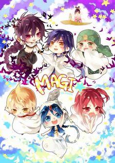 Judar, Sinbad, Jafar, Alibaba, Aladdin, and Morgiana       ~Magi: The Labyrinth of Magic