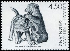 "A series of three slegdedog stamps, done by Naja Abelsen for Post Greenland. Gravure by Lars Sjöblom.  www.najaabelsen.dk ""Gotta LOVE THOSE DOGS! - Stamp Community Forum - Page """