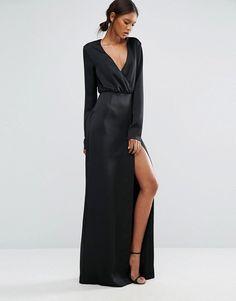 Taller Than Your Average | Черное платье макси с запахом, длинными рукавами и разрезом до бедра TTYA