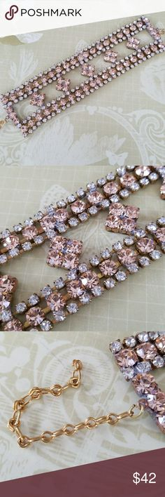 Sparkling vintage rhinestone bracelet Gorgeous Czech glass from Jablonec  Beautiful blush and clear rhinestones Adjustable length New Old Stock  Excellent vintage condition  Signed Bijoux M.G Jewelry Bracelets