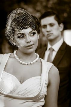 Vintage inspired hairstyle for wedding. Vintage inspired veil.  Jon Reindl Photography