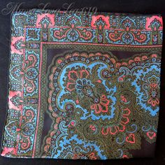 Vintage Ashear Nine-Color All Silk Pocket Square Handkerchief Paisley Italy #Ashear #Patterned