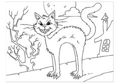 Coloring page creepy cat - img 22635.