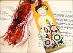 Frida with Parrot   Laminated Bookmark  Handmade  by FlorLarios, $8.00