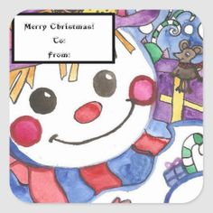 Snowman and Mouse Gift Tag Sticker Head Start, Business Supplies, Party Hats, Funny Cute, Gift Tags, Snowman, Birthday Parties, Art Pieces, Birthdays