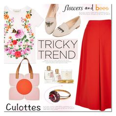 """Chic Culottes"" by mada-malureanu ❤ liked on Polyvore featuring TIBI, Gucci, Jon Josef, Orla Kiely, Calypso St. Barth, TrickyTrend, ring, jewelry, culottes and jewelryartisan"
